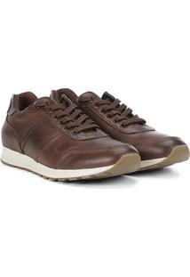 Tênis Couro Shoestock Jogging Recorte Croco Masculino