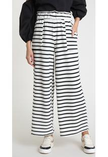 Calça Feminina Pantalona Listrada Com Linho E Bolsos Off White