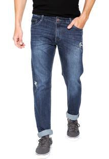 Calça Jeans Gangster Skinny Estonada Azul