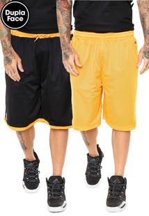 Bermuda New Era Dupla Face Golden State Warriors Preta/Laranja