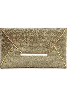 Bolsa Clutch Liage Envelope Tecido Brilhante Brilho E Metal Dourado