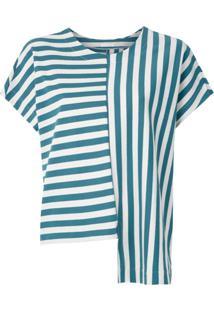 Osklen Blusa Summer Stripe Assimétrica - Azul