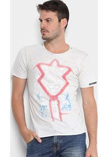 Camiseta Opera Rock Destroyed Estampada Masculina - Masculino-Off White