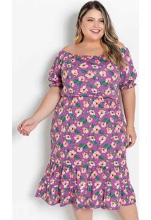 Vestido Floral Roxo Ombro A Ombro Plus Size