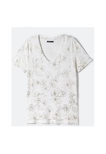 Blusa Manga Curta Estampa Floral Metalizada   Cortelle   Branco   G