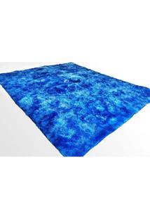 Tapete Saturs Shaggy Pelo Alto Mesclado Azul - 60 X 180 Cm Tapete Para Sala E Quarto