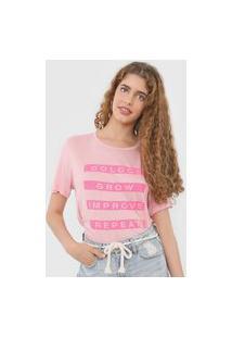 Camiseta Colcci Lettering Neon Rosa