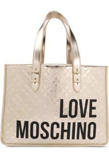 Love Moschino Bolsa Tote Com Estampa De Logo - Dourado
