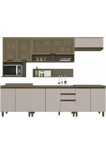 Cozinha Completa 8 Peças Balcão Com Tampo Cooktop 11 Portas 2 Gavetas Alice Siena Móveis Duna/Cristal