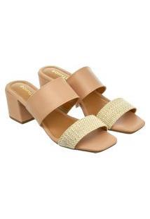 Sandália Feminina Donatella Shoes Bico Quadrado Salto Alto Bloco Juta Pele