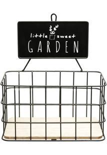 "Prateleira ""Little Garden""- Preta- 24X21X13Cm- Uurban"