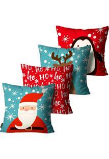 Kit 4 Capas Para Almofadas Mdecore Natal Papai Noel Azul 45X45Cm