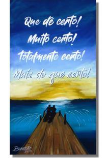 Quadro Com Frase Motivacional Pintado A Mão Azul Marrom