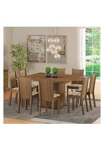 Conjunto Sala De Jantar Madesa Clarice Mesa Tampo De Madeira Com 8 Cadeiras - Rustic/Lírio Bege Marrom