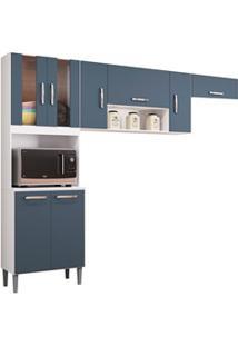 Cozinha Compacta 8 Portas Lavínia Branco/Cinza Platinum - Poquema