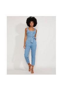 Macacão Jeans Feminino Com Bolsos E Faixa Para Amarrar Alça Larga Azul Claro
