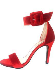 Sandália Blume Buckle Veludo Vermelha