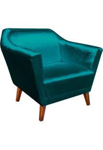 Poltrona Decorativa Lorena Acetinado Azul - D'Rossi
