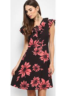 709a212cec ... Vestido Lily Fashion Evasê Curto Floral - Feminino-Preto+Laranja