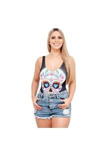 Body Suplex Feminino Regata Collant Caveira Mexicana Sugar Skull
