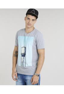 Camiseta Masculina Foguete Manga Curta Gola Careca Cinza Mescla