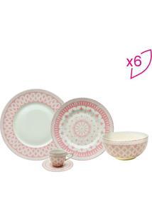 Aparelho De Jantar Tie Mood- Branco & Rosa Claro- 30Full Fit