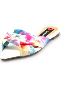 Sandália Love Shoes Rasteira Bico Folha Nó Tie-Dye Rosa - Tricae