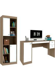 Escrivaninha Com Estante Home Office Avelã E Branca