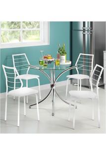 Mesa 375 Com Vidro Incolor Cromada Com 4 Cadeiras 1716 Branca Carraro