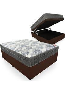 Cama Box Com Baú Casal + Colchão De Molas Ensacadas - Ortobom - Iso Superpocket 138X188X67Cm Marrom