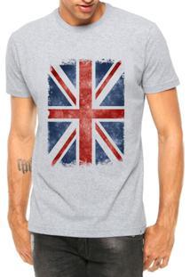 Camiseta Criativa Urbana Bandeira Londres - Masculino-Cinza