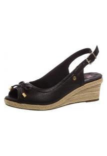 Sandália Feminina Anabela Doctor Shoes 660 Laço Preto
