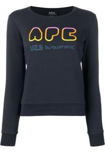 A.P.C. Suéter Com Estampa Rainbow - Azul