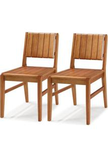 Kit 2 Cadeiras Salvador Verniz Jatoba Encosto Ripado 43Cm - 60331 - Sun House