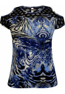 Blusa Pau A Pique Estampada Azul