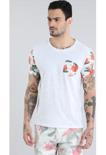 Camiseta Com Bolso Estampado Floral Cinza Mescla Claro