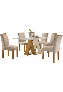 Mesa De Jantar Belle Com 6 Cadeiras Sued Animalle Bege