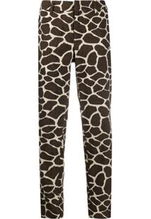 Pt01 Giraffe Cropped Trousers - Marrom