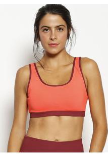 Top Nadador Com Recortes- Bordô & Laranja- Body For Body For Sure