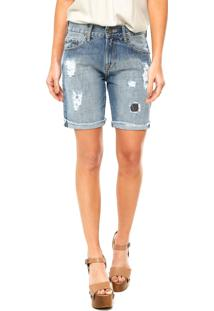 Bermuda Jeans Cantão Patch Azul