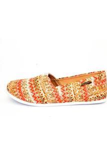 Alpargata Quality Shoes Étnico Feminina - Feminino-Laranja