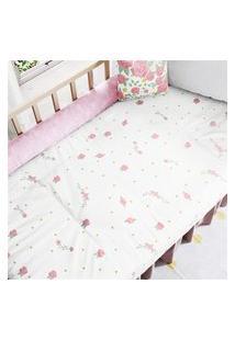 Edredom De Berço Menina Floral Rosa Provençal Gráo De Gente Multicolorido