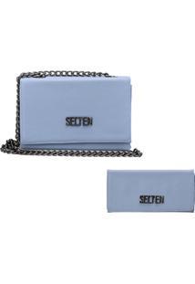 Bolsa Transversal Com Carteira Kit Verão Selten Azul