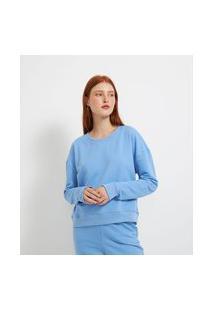 Blusão Cropped Básico Em Moletom Comfy   Blue Steel   Azul   Pp