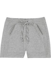 Shorts Feminino Em Moletom Com Detalhes Em Malha Texturizada