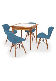 Conjunto Mesa De Jantar Em Madeira Imbuia Com Azulejo + 4 Cadeiras Slim - Turquesa