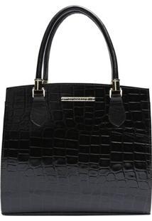 Bolsa De Mão Em Couro Textura Crocodilo- Preta- 29X2Di Marlys