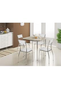 Mesa 1510 Nogueira Cromada Com 4 Cadeiras 1701 Branca Carraro