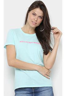 Camiseta Calvin Klein Music Memories Feminina - Feminino-Azul