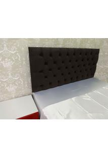 Cabeceira Roma Queen 1,60M Capitonê Painel Suede Tabaco Marrom Escuro Kasabela